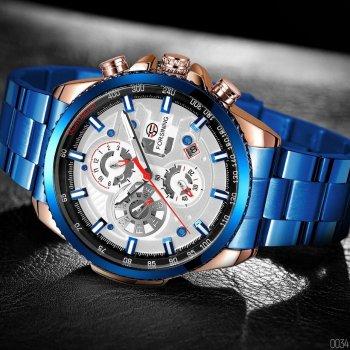 Мужские механичиские часы Forsining Blue наручные классические на стальном браслете + коробка (1059-0034)