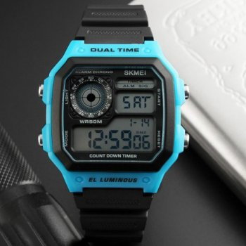 Мужские электронные часы Skmei Black наручные спортивные на пластиковом ремешке + коробка (1080-0209)