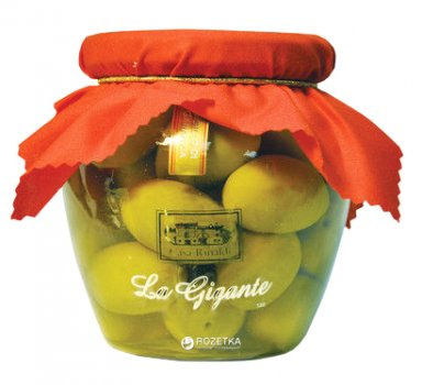 Оливки зеленые с косточкой Casa Rinaldi Bella di Cerignola гигантские 590 г (8006165380942)