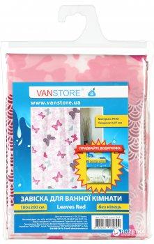Фіранка для ванної Vanstore Leaves Red 61002 (комплект)