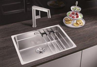 Кухонная мойка BLANCO ETAGON 500-IF (521840) нержавеющая сталь без кл.авт + сливной гарнитур (234073)