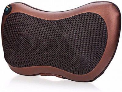 Массажная Подушка Инфракрасный роликовий массажер для шеи и спины Massage Pillow коричневая