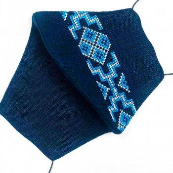 Маска защитная (многоразовая) из 100% ЛЬНА с Вышивкой Размер Л Темно-Синий