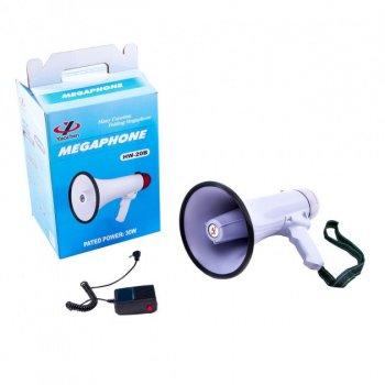 Гучномовець рупорний MEGAPHONE HW 20B+функція запису+сирена+ Підключається рація-мікрофон (тангенка)+регулювання гучності