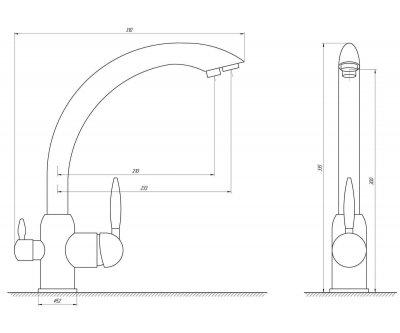 Кухонний змішувач з підключенням до фільтра Globus Lux GLLR-0777 BRONZE