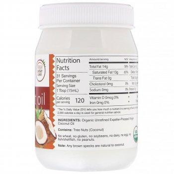 """Органічне кокосове масло Dr. Murray's """"Organic Virgin Coconut Oil"""" першого віджиму, універсальне (473 мл)"""