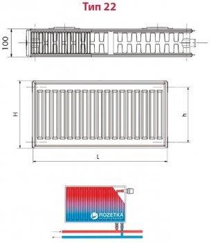 Радиатор HI-THERM 300x900 мм Тип 22 нижний (VK22300900)