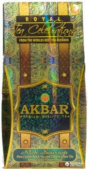 Чай крупнолистовой Akbar Rich Soursop Royal Celebrations чайная смесь с добавлением цветочных лепестков и масла плода саусеп 100 г (5014176014421)