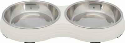 Trixie Двойная миска для котов на белой меламиновой подставке, 2 × 0.2 л/ø 13 см