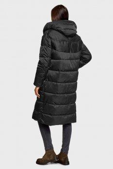 Женское черное пальто Oodji 10207010/49573/2900N