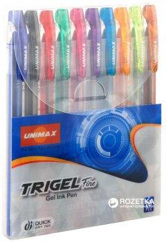 Набор гелевых ручек Unimax Trigel-3 ассорти цветов 0.5 мм 10 цветов корпуса (UX-132-20)