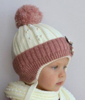 Зимняя детская шапка Arctic ОГ 48-52 см на флисе с завязками для девочки 2-6 лет 062-Конфетка молочная розовая