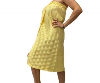 Парео для сауны женское 90х150 см (100%хлопок) цвет жёлтый 149628