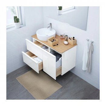 Тумба під раковину IKEA GODMORGON / TOLKEN / TÖRNVIKEN 102x49x74 см з ящиками білий глянець бамбук 491.920.93