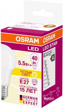 Світлодіодна лампа Osram LED Star A40 5.5W (470Lm) 2700K E27 (4052899971516)