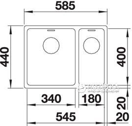 Кухонна мийка BLANCO Andano 340/180-U з чашею справа (522977) + зливний гарнітур (234452)