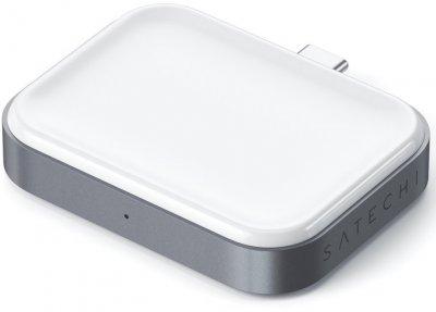 Беспроводное зарядное устройство Satechi USB-C Wireless Charging Dock Space for Airpods Grey (ST-TCWCDM)
