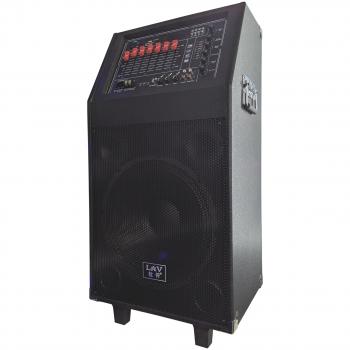 Акустична система LAV P-12 Black Потужність 200 Вт з висувною ручкою Радіо Bluetooth 2 мікрофона + пульт управління
