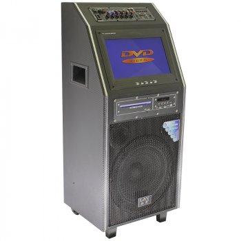 Акустична система LAV PA-212 Black Потужність 300 Вт Кольоровий екран 12 дюймів Bluetooth Радіо 2 мікрофон і пульт дистанційного в комплекті