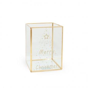 Скляний Бокс Merry Christmas 18 х 13,2х13,2 см Kaktus (110647)