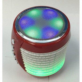 Колонка портативная Bluetooth со светомузыкой WSTER USB, FM, AUX, WS-1805 Red (Красный)