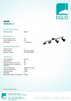 Стельовий світильник Eglo SERAS 2 98408