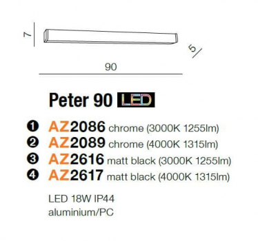 Бра AZzardo PETER 90 3000K AZ2616