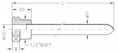 Заглибна гільза мідна для датчика температури 1/2, 10х11мм, L=100мм, один зонд