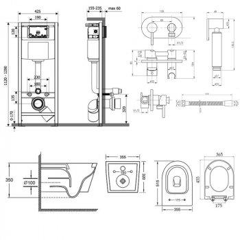Комплект Qtap інсталяція Nest QTNESTM425M11CRM + унітаз з сидінням Swan QT16335178W + набір для гігієнічного душу зі змішувачем Inspai-Varius QTINSVARCRMV00440501