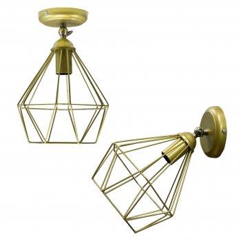 Світильник настінний бра 100lamp Loft Е-27 метал, золотий (NL 0537-1G)
