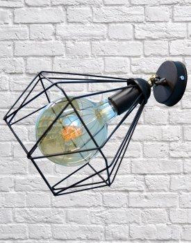 Світильник настінний бра 100lamp Loft Е-27 метал, чорний (NL 0537-1)