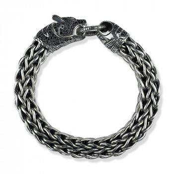 """Серебряный браслет """"Чёрная Пантера"""" размер 22 вес 152,98 проба 925 [Black-Pearl]"""