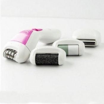 Эпилятор женский Gemei аккумуляторный для удаления волос 4 в 1 Original с насадкой бритва и пемза Pink (GM-7006)