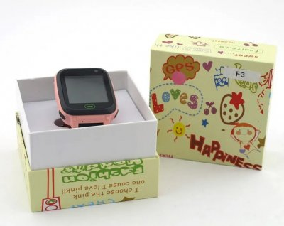 Смарт-годинник Smart розумні наручні дитячі LED-ліхтарик багатомовні Black-Pink (F3-2)