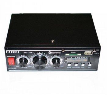 Стереоусилитель UKC підсилювач звуку для колонок з Bluetooth і пультом управління з FM радіо в машину і для авто Чорний (AV-777BT)