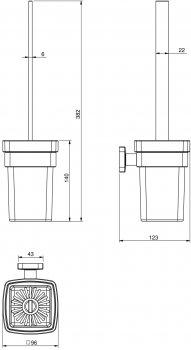 Йоржик для унітаза VOLLE Teo 15-88-425 матове скло/хром