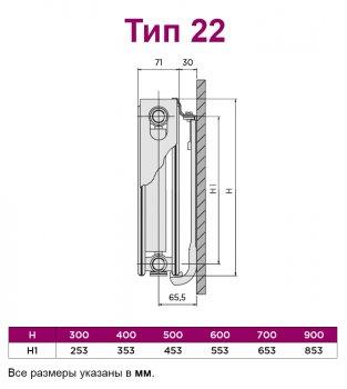 Радиатор стальной QUINN Integrale тип 22 400x2200 мм (Q22422VSKD)
