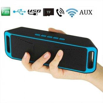 Акустична система UKC портативна колонка Megabass A2DP Stereo Bluetooth USB FM 20см Синьо-чорна (SC-208-4)