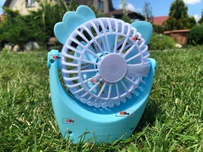 Портативний акумуляторний міні вентилятор з вушками і RGB підсвіткою Mini Fan (CS091-1) Блакитний