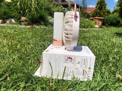Портативный аккумуляторный мини вентилятор с ушками и складной ручкой DianDi Mini Fan (SQ-2163) Розово-белый