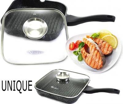 Сковорода-гриль Unique UN-4011 с крышкой 24 см (13766)