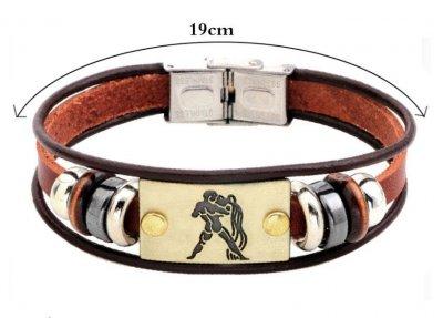 Кожаный браслет Primo Zodiac Aquarius (Водолей) Primo коричневый