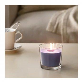 Ароматическая свеча в стакане IKEA SINNLIG ежевика 9 см Сиреневый (903.374.08)