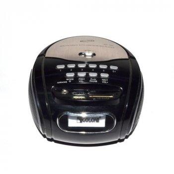 Бумбокс колонка караоке годинник MP3 Golon RX 686Q Black