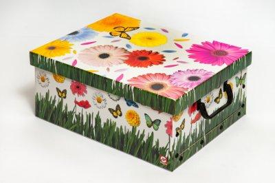 Коробка картонная с пластиковыми ручками Evoluzione 30 х 30 х 15 см Герберы и Бабочки (27)