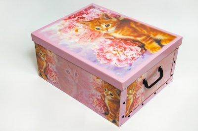 Коробка картонная с пластиковыми ручками Evoluzione 40 х 50 х 25 см Котенок с цветком (31)