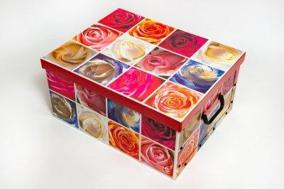 Коробка картонная с пластиковыми ручками Evoluzione 40 х 50 х 25 см Розы (17)