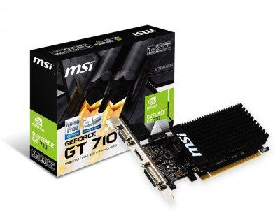 Відеокарта GeForce GT710 MSI 1Gb DDR3 64bit VGA/DVI/HDMI 954/1600MHz Silent GT 710 1GD3H LP