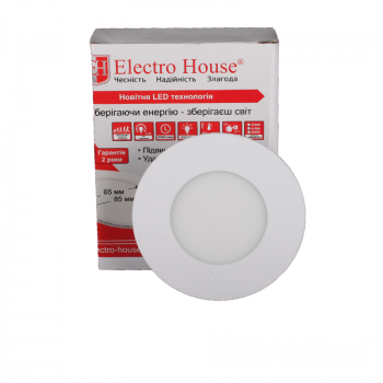 Світильник стельовий Electro House EH-LMP-1270 LED панель кругла 3вт 4100К Ø85мм 270Lm