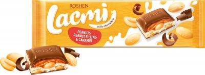 Шоколад Roshen Lacmi молочный с арахисом и карамельно-арахисовой начинкой 295 г (4823077629495)